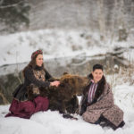 Russian style photo shoot with a real bear